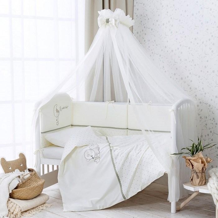 Комплект в кроватку Perina Le Petit Bebe 6 предметов Молочно-оливковый - фото 66793