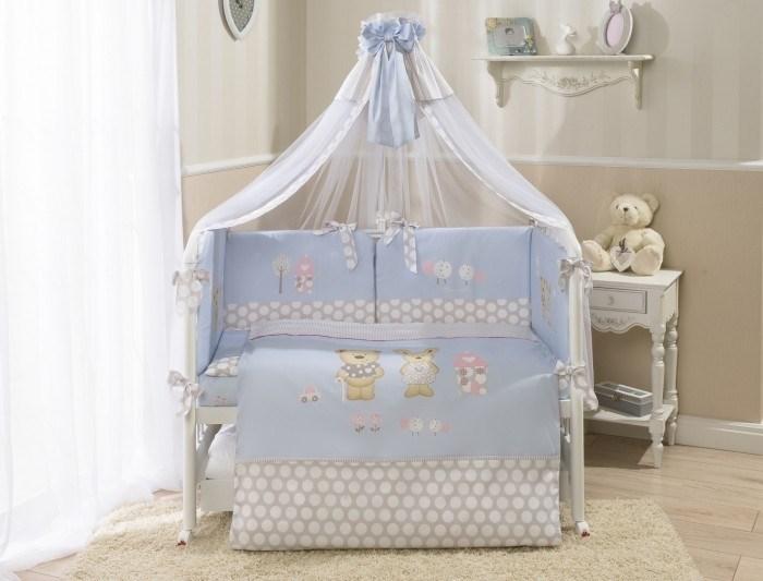 Комплект в кроватку Perina Венеция 7 предметов Лапушки Голубой - фото 66809