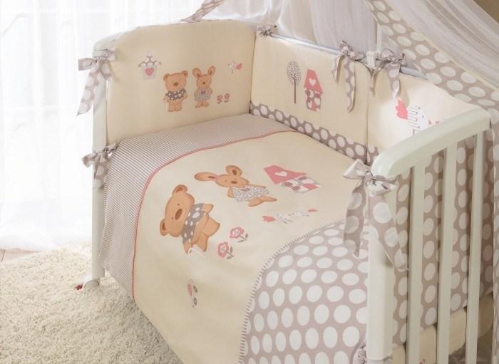Комплект в кроватку Perina Венеция 4 предмета Лапушки Бежевый - фото 66811