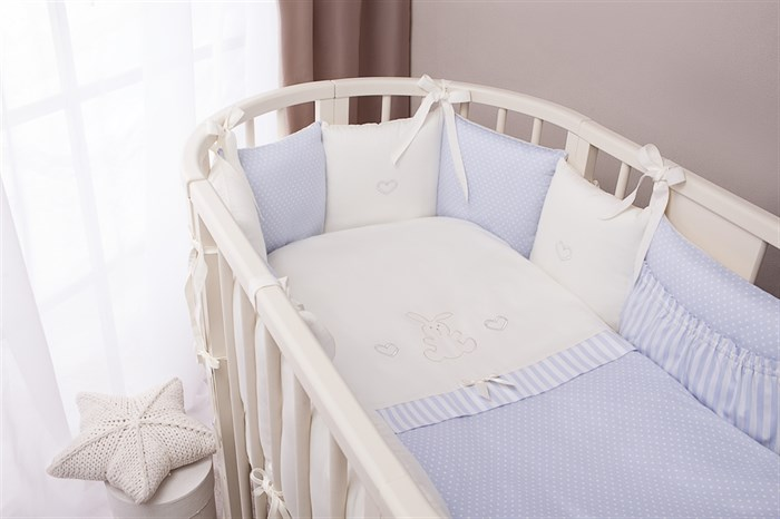 Комплект в кроватку Perina Неженка Oval 7 предметов Голубой - фото 66822