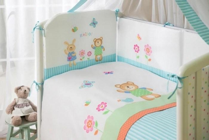 Комплект в кроватку Perina Глория 4 предмета Hello Бирюзовый - фото 66830