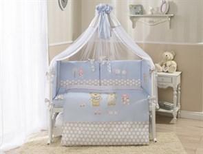 Комплект в кроватку Perina Венеция 7 предметов Лапушки Голубой