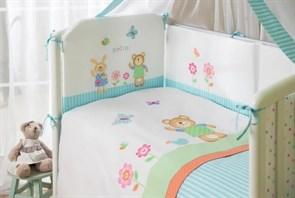 Комплект в кроватку Perina Глория 4 предмета Hello Бирюзовый